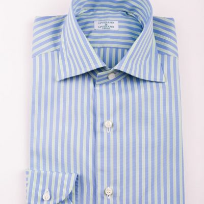 Light Blue and Green Striped Shirt in L1 collar (1)