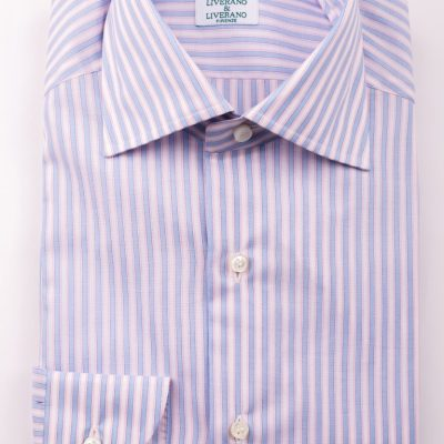 Pink and Light Blue Striped Shirt in L1 collar2